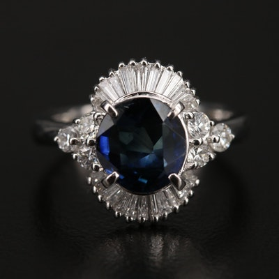 Platinum 2.20 CT Sapphire and Diamond Ring with GIA Report