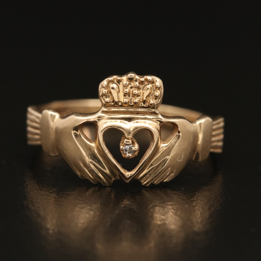 14K Diamond Claddagh Ring