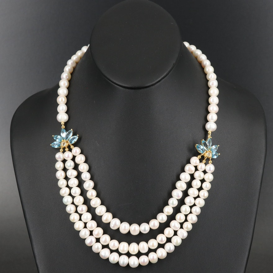 Sterling Swiss Blue Topaz and Pearl Garland Necklace