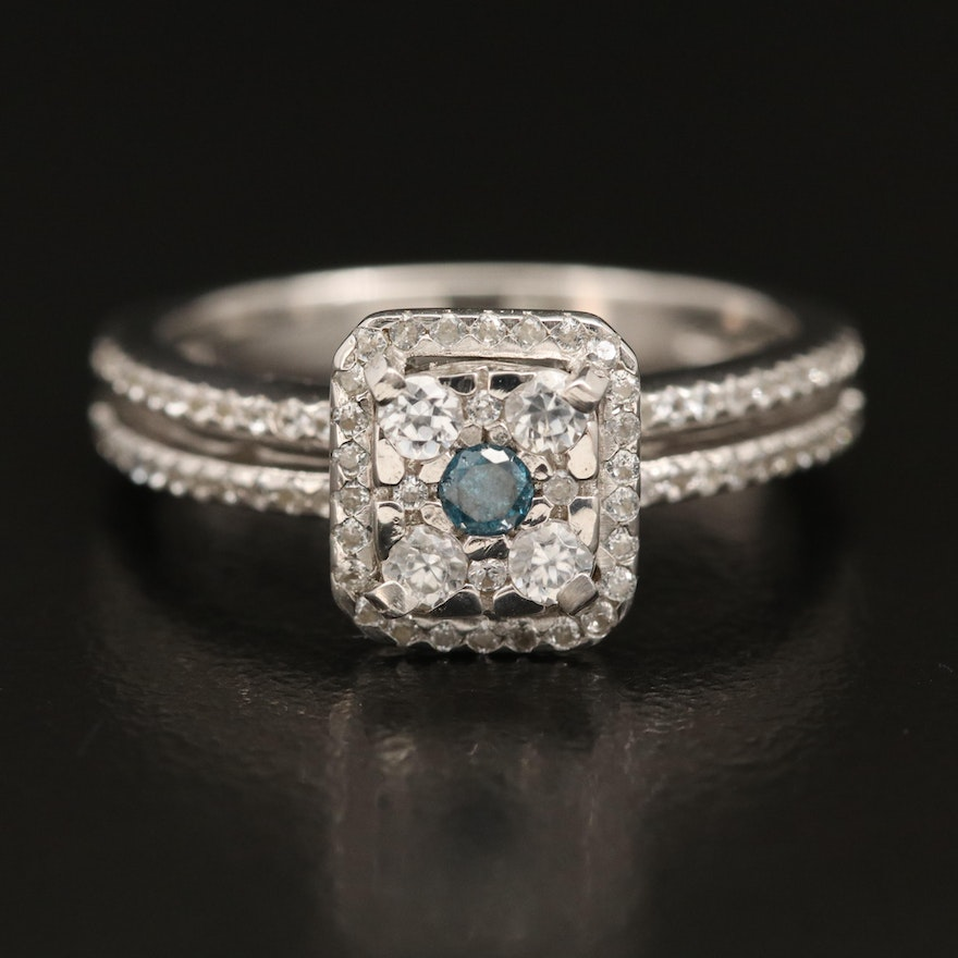 Sterling Silver Diamond and White Zircon Halo Ring