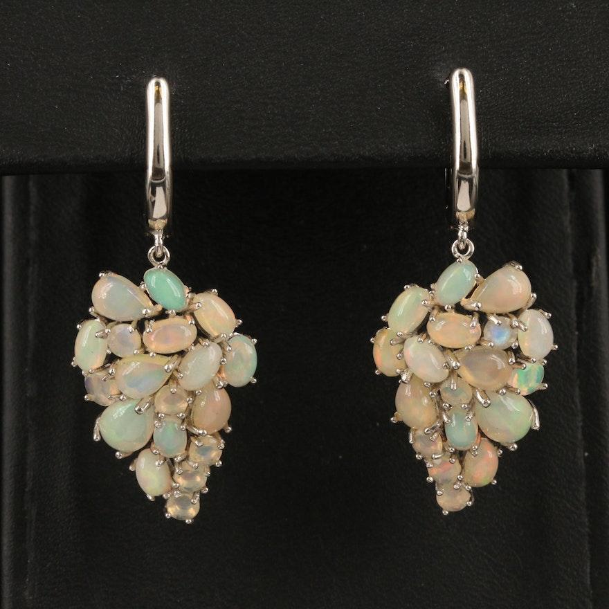 Sterling Opal Cluster Earrings