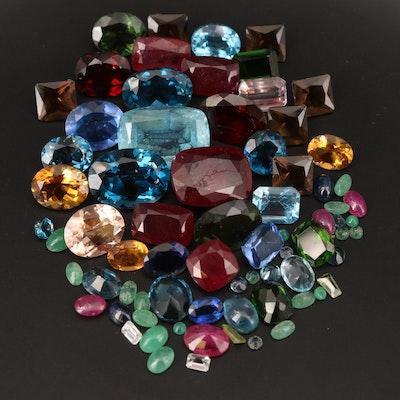 Loose London Blue Topaz, Corundum, Smoky Quartz and Additional Gemstones