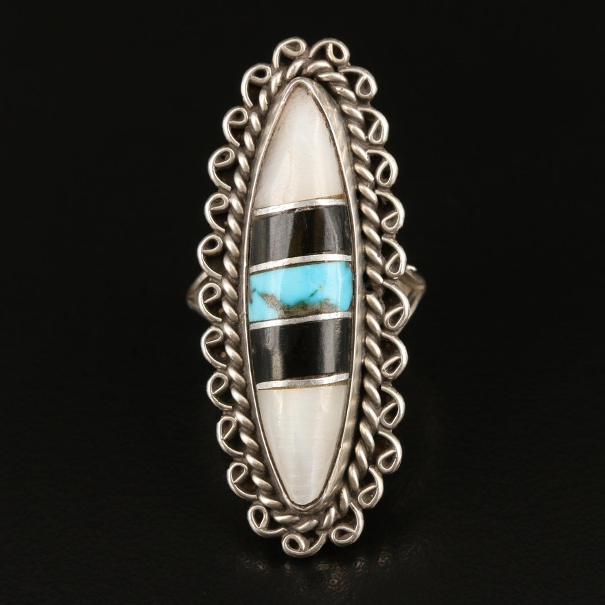 Signed Southwestern Sterling Silver Ring Featuring Turquoise and Mother of Pearl