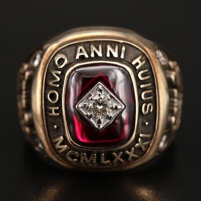 1981 10K Diamond and Ruby Class Ring