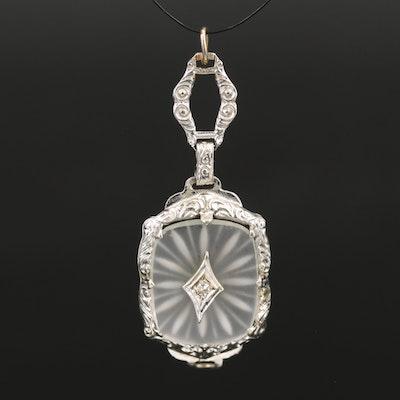 Art Deco 14K Rock Crystal Quartz and Diamond Pendant