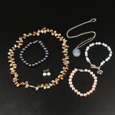 Sterling Silver Pearl and Opal Doublet Jewelry