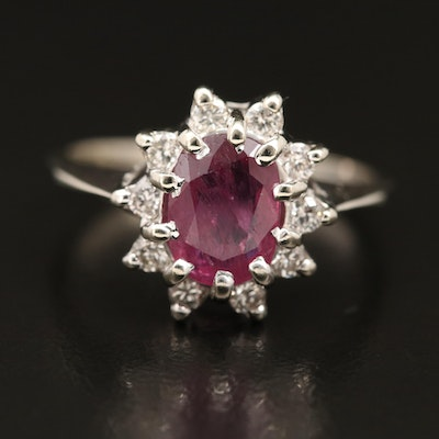 14K 1.80 CT Ruby and Diamond Halo Ring