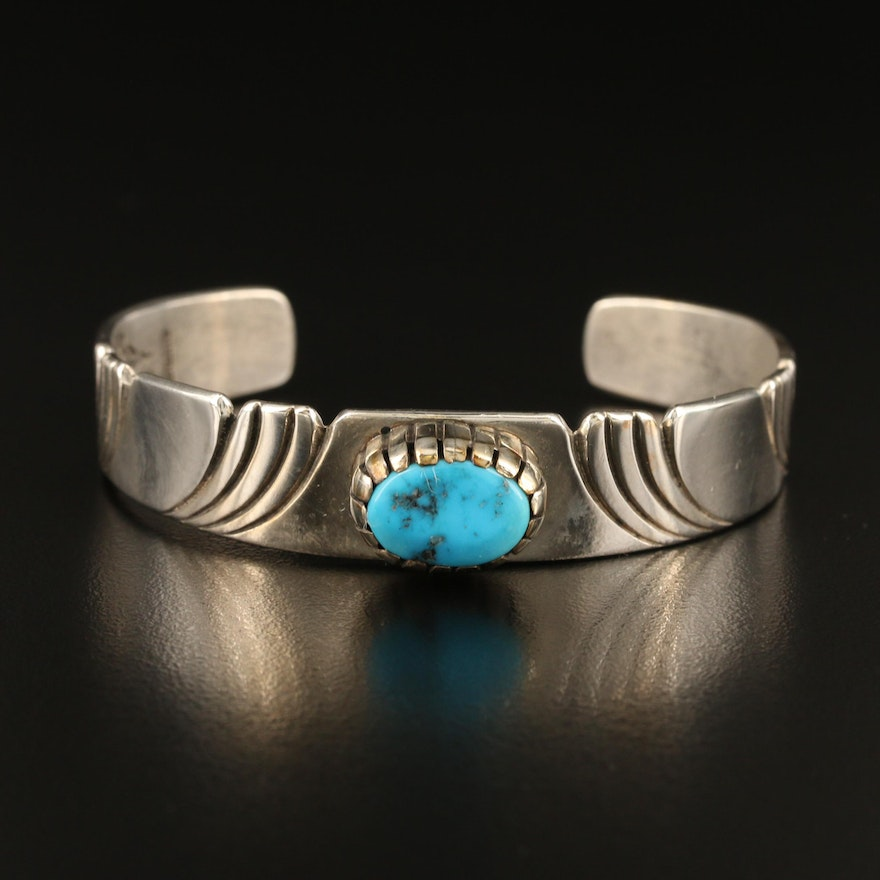 Steven Yellowhorse Navajo Diné Sterling Silver and Turquoise Cuff