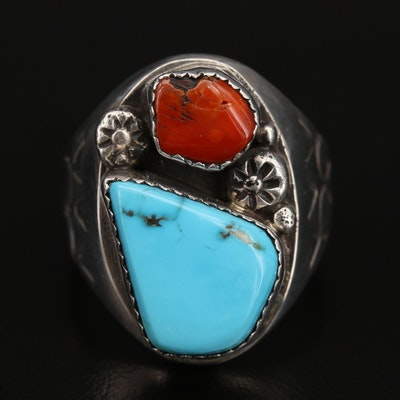 Western Style Sterling Turquoise and Coral Stampwork Ring