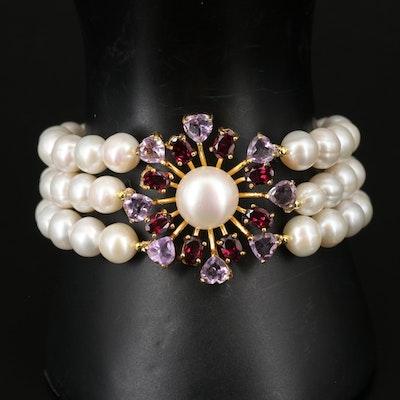 Sterling Pearl, Amethyst and Rhodolite Garnet Multi-Strand Bracelet