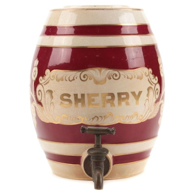 Barrel Shaped Ceramic Sherry Dispenser, Late 19th to Early 20th Century