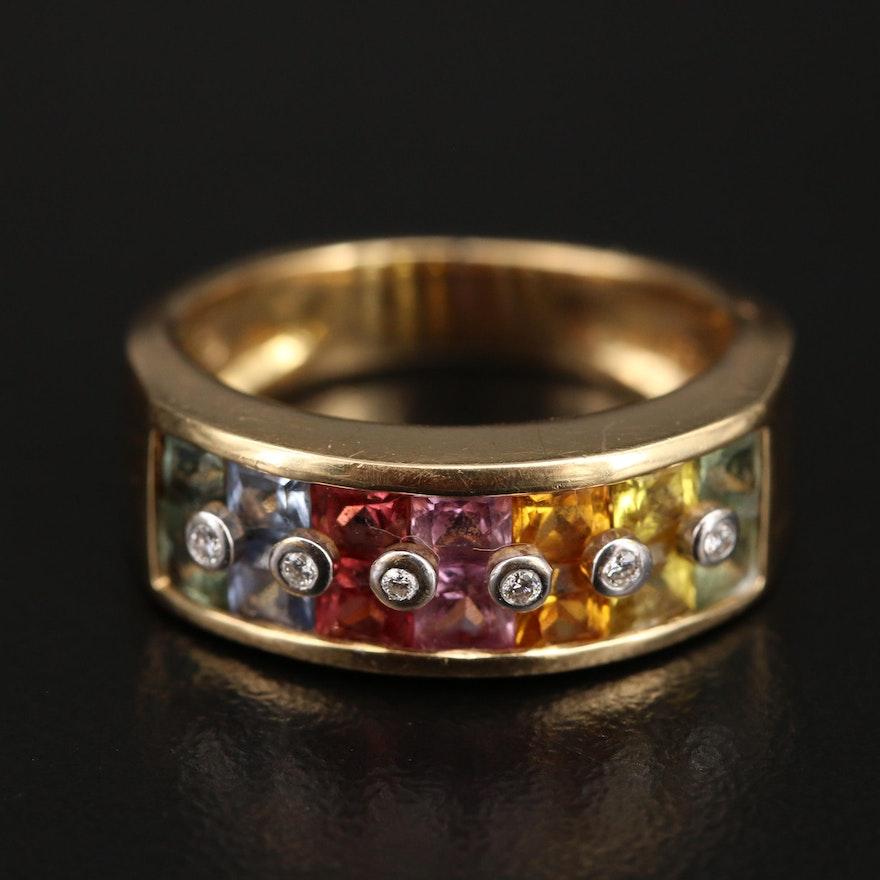 18K Multicolor Sapphire and Diamond Band