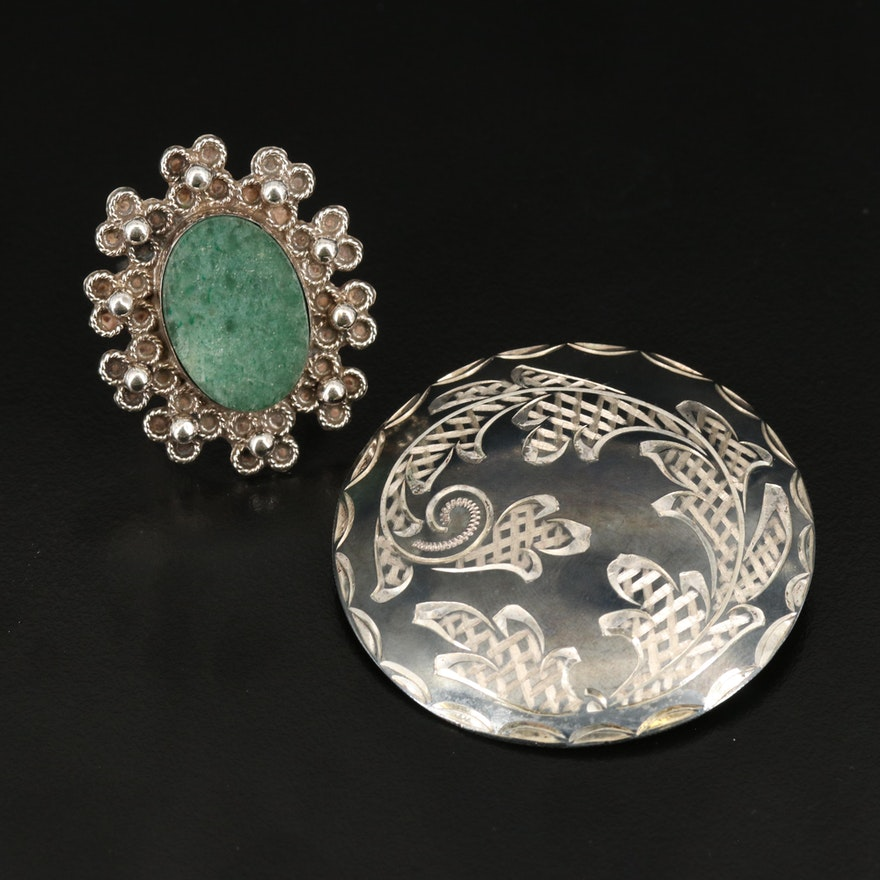 Vintage Mexican Sterling Aventurine and Quartz Converter Brooch and Ring
