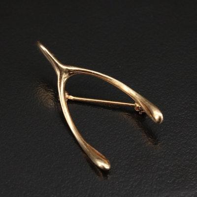 14K Wishbone Brooch