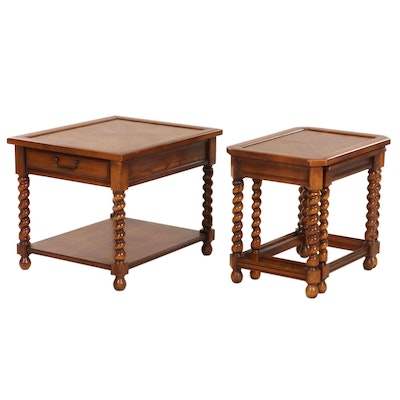 """Brandt """"Monastique"""" Oak Single-Drawer Side Table and Two Nested Tables, 1970s"""