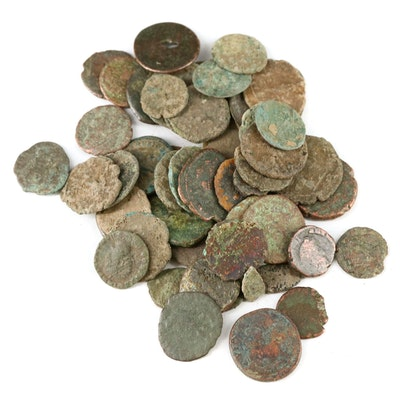 Fifty-Two Ancient Roman Imperial AE4 Bronze Coins, ca. 200–400 AD