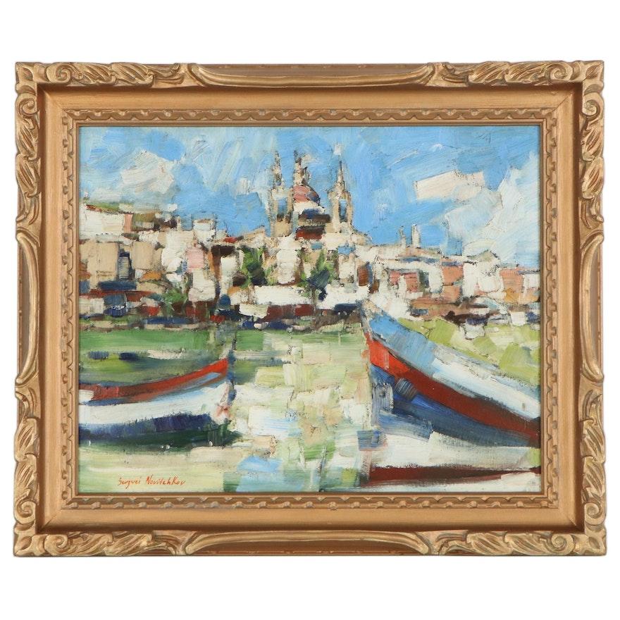 "Serguei Novitchkov Oil Painting ""City Embankment,"" 2019"