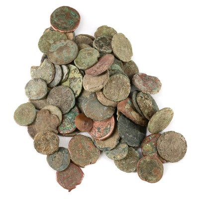 Seventy Ancient Roman Imperial AE4 Bronze Coins, ca. 200–400 AD