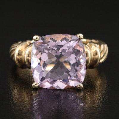 10K Amethyst Ring with Fluted Shoulders
