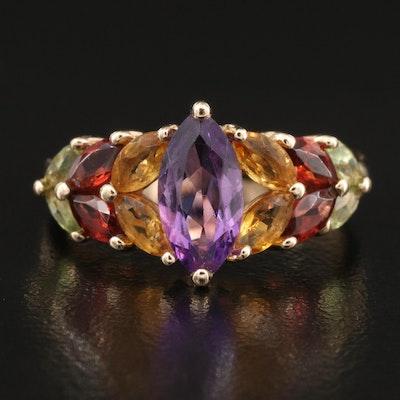 14K Amethyst and Gemstone Ring