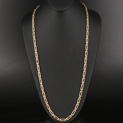 18K Textured Rectangular Link Chain Necklace