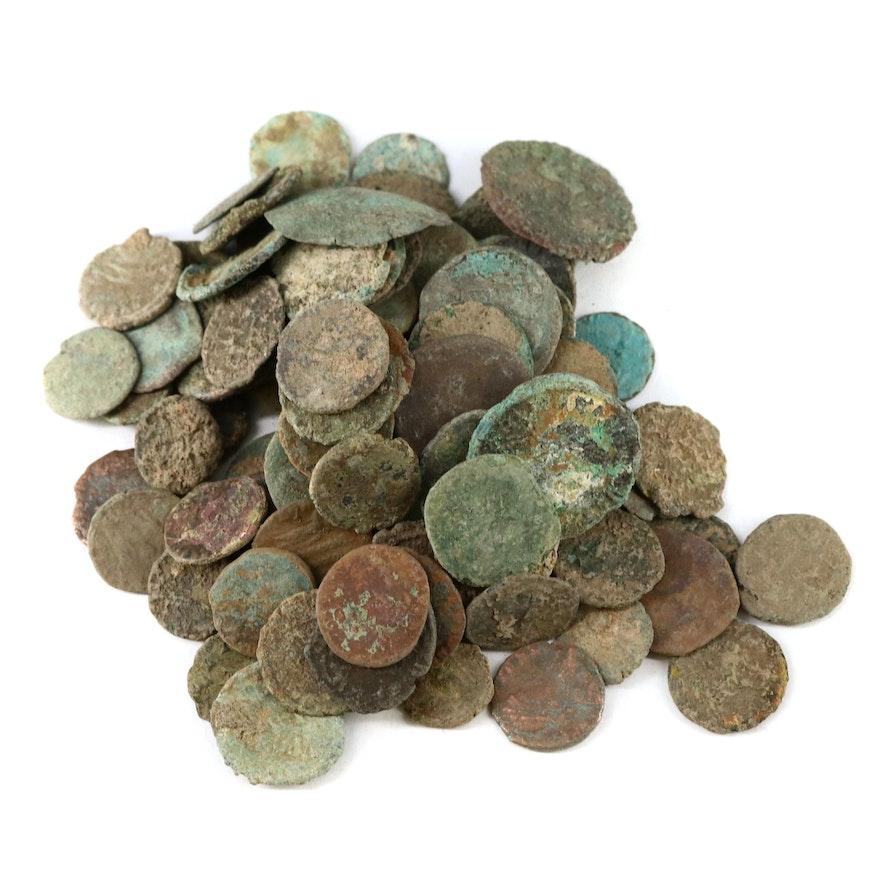 107 Ancient Roman Imperial AE4 Bronze Coins, ca. 200-400 A.D.