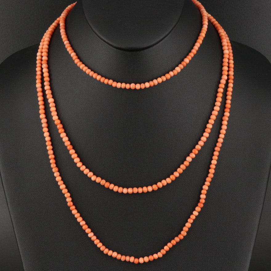 Coral Bead Necklace with Sterling Clasp