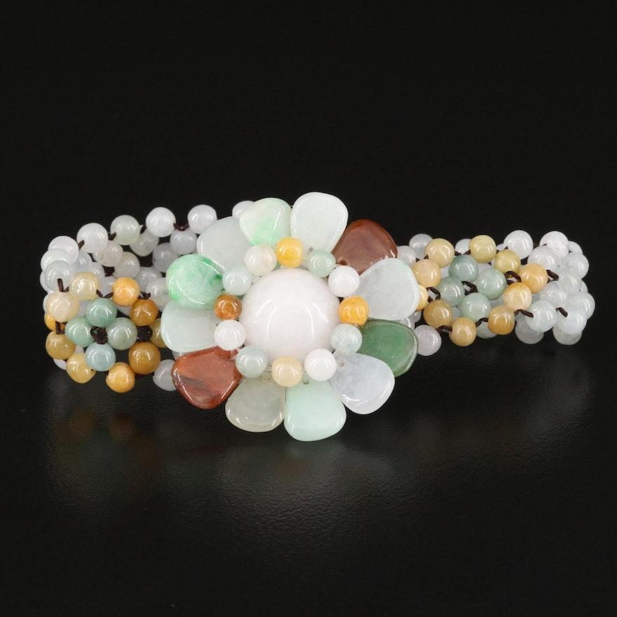 Jadeite Floral Woven Bracelet
