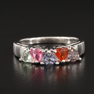 Sterling Silver Tourmaline, Fire Opal and Tanzanite Ring