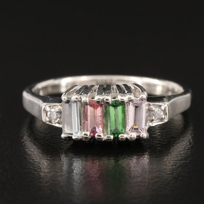 Sterling Silver Tourmaline and White Zircon Ring