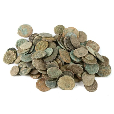 147 Ancient Roman Imperial AE4 Bronze Coins, ca. 200-400 A.D.