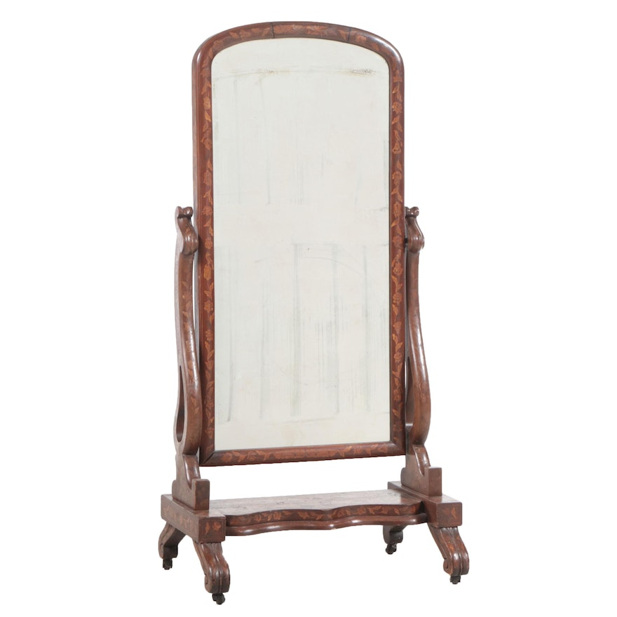 Dutch Mahogany and Marquetry Cheval Mirror, Mid-19th Century