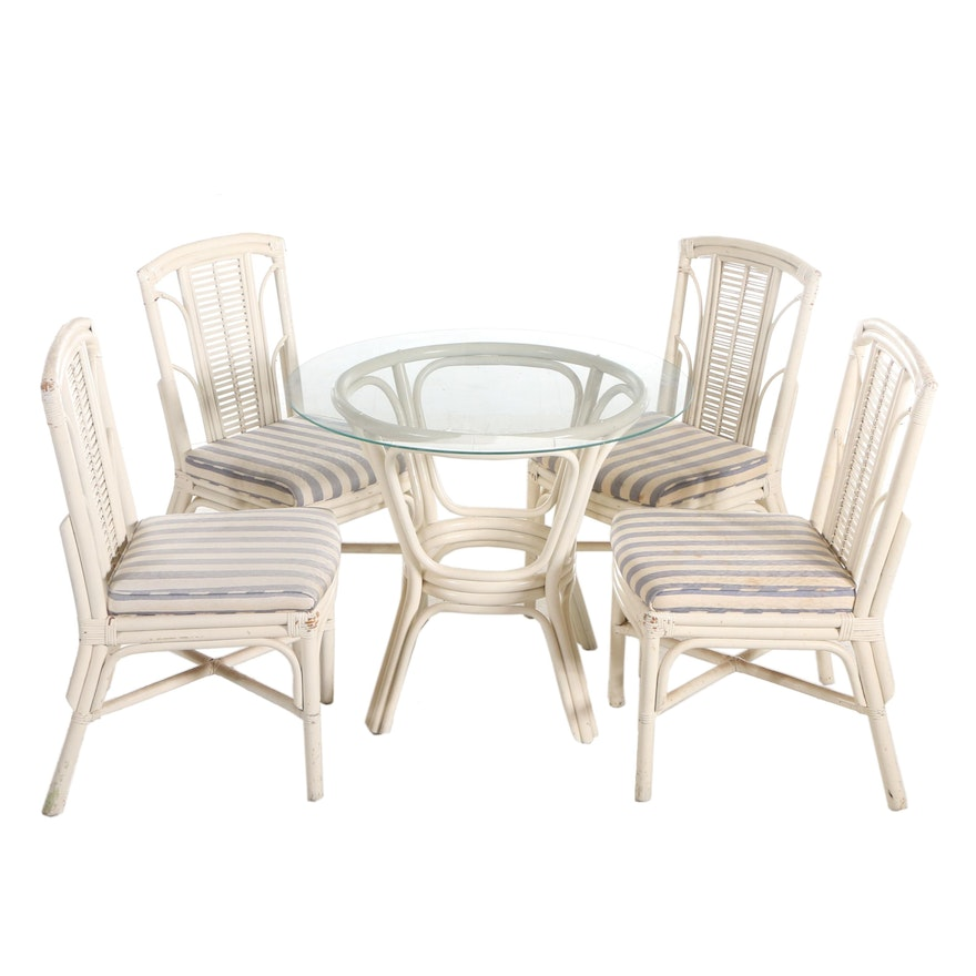 Painted Rattan and Wicker Five-Piece Patio Bistro Dining Set