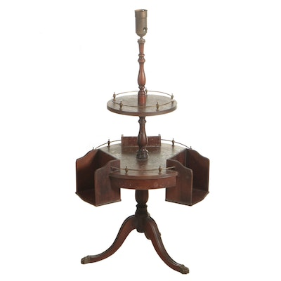 Regency Style Floor Lamp Table with Book Boxes