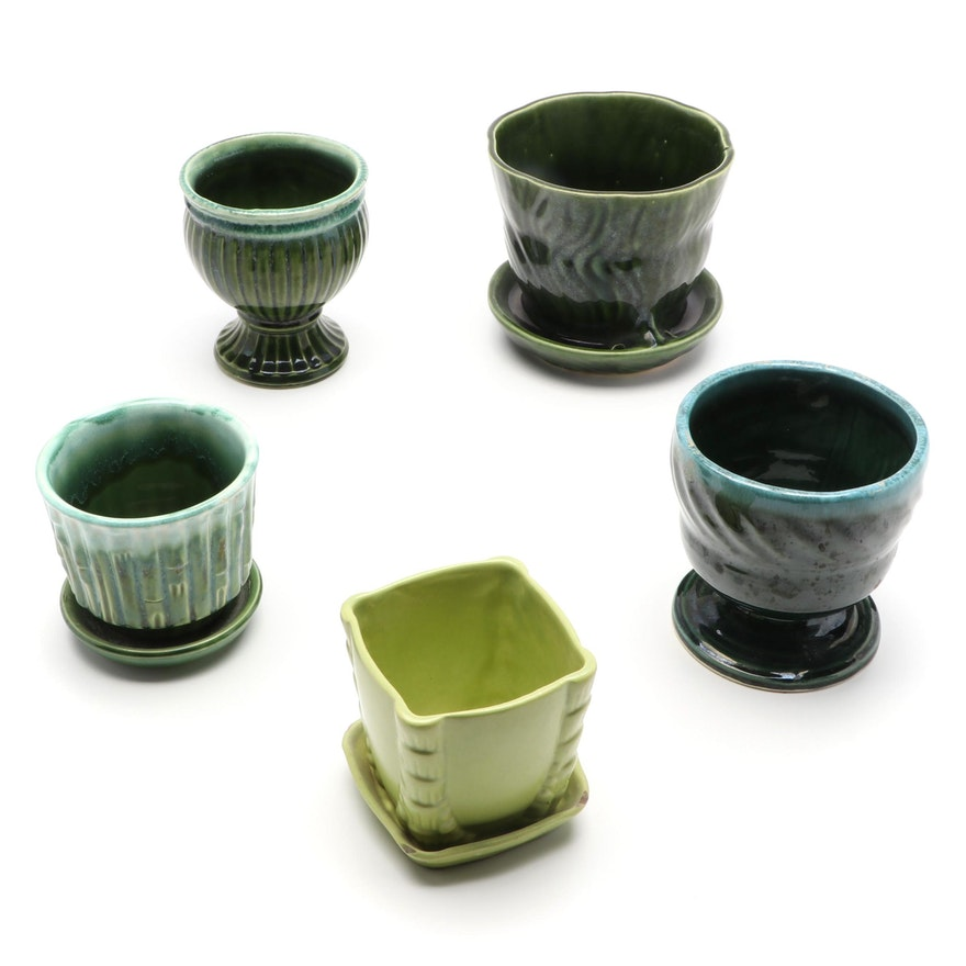 McCoy Pottery and Others Glazed Ceramic Planters, Mid to Late 20th Century