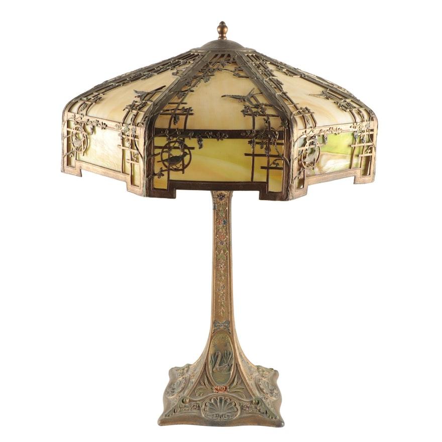 Empire Japonisme Silhouette Bent Slag Glass Lamp with Gilt Polychrome Swan Base