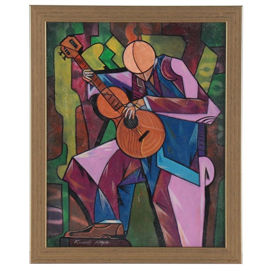 Ricardo Maya Cubist Style Abstract Acrylic Figure Painting, 21st Century