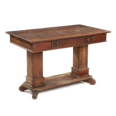 Empire Revival Oak Single-Drawer Library Table, Early 20th Century