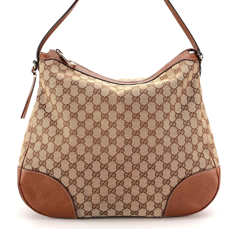 Gucci Bree Hobo Bag in GG Canvas and Brown Grained Leather