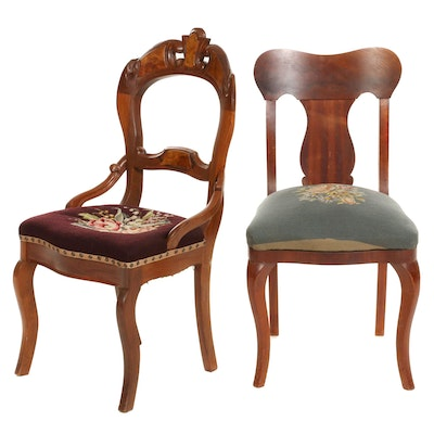 Two Victorian Side Chairs with Needlepoint Upholstery, Early 20th Century