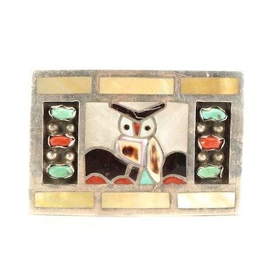 Filbert and Clara Gasper Zuni Inlaid Sterling Silver Owl Buckle