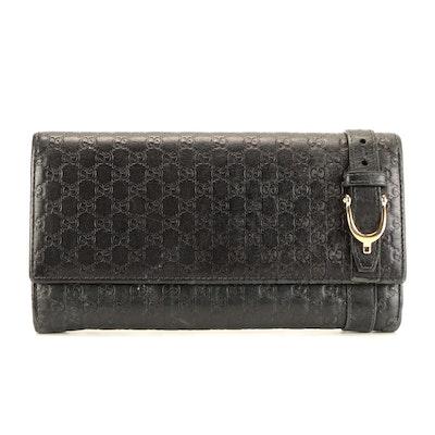 Gucci Horsebit MicroGuccissima Black Leather Wallet