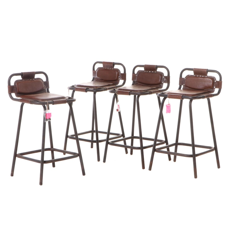 Four Industrial Style Patinated Metal & Brown Leather Counter-Height Bar Stools