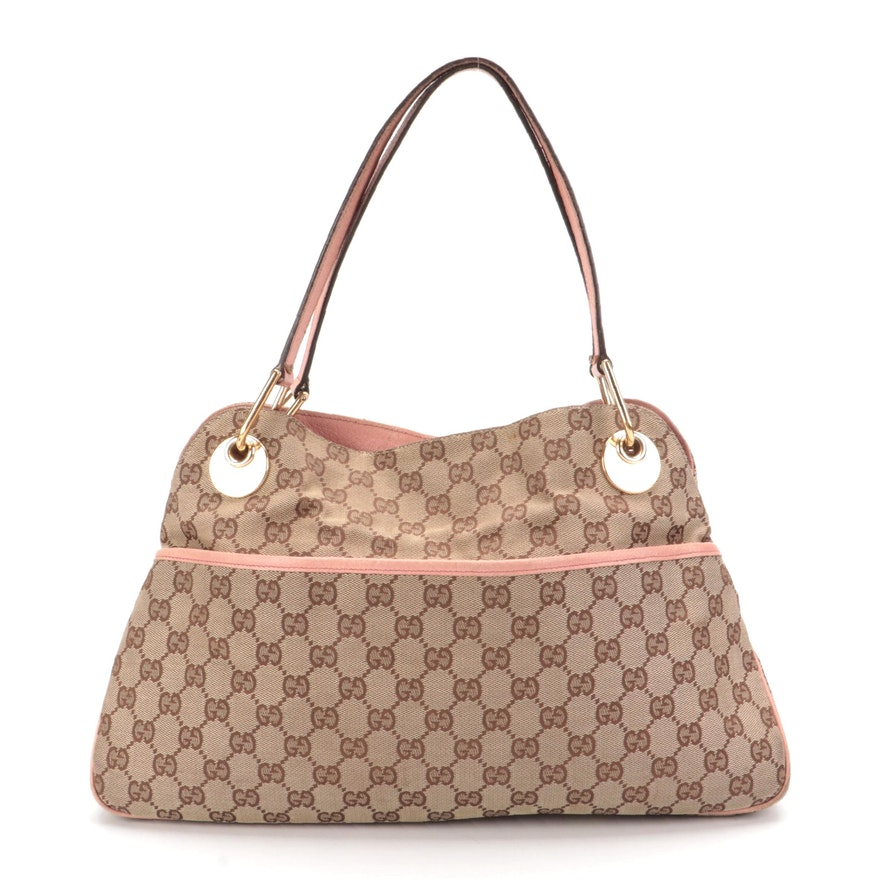 Gucci Eclipse Medium Tote Bag in GG Canvas with Pink Leather Trim