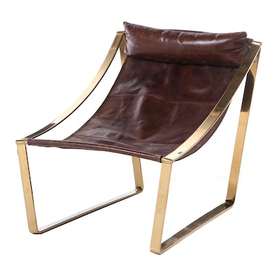 """Blue Ocean Traders """"Allure"""" Modernist Style Brass Tone and Leather Sling Chair"""