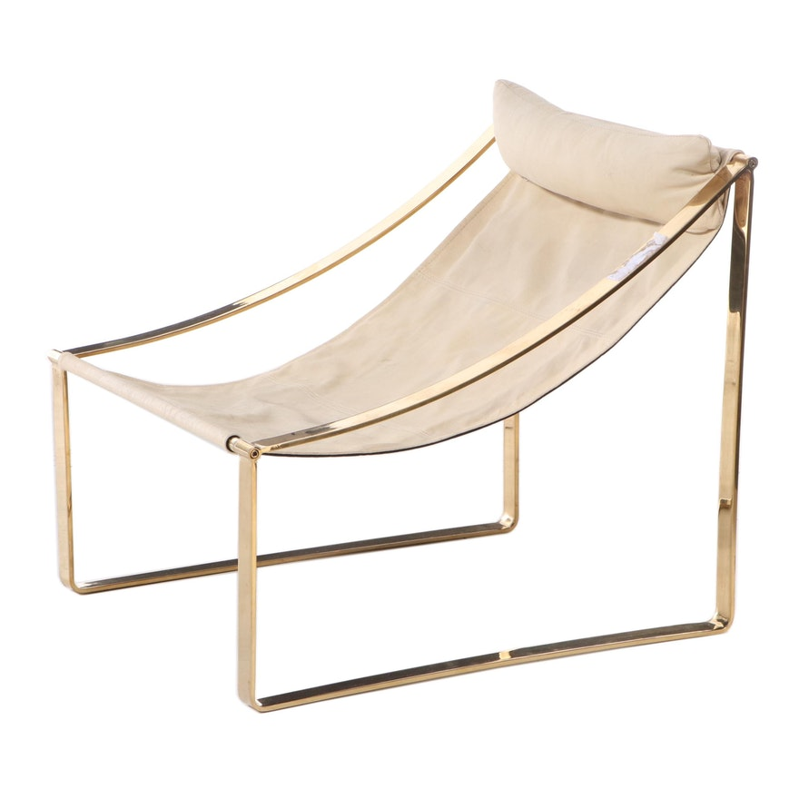 Modernist Style Brass-Patinated Metal and Cream Leather Sling Chair