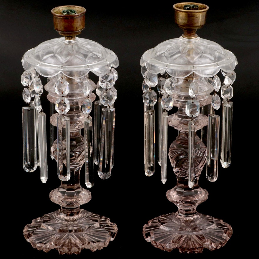 Glass Candlesticks with Hanging Prisms, Late 19th Century