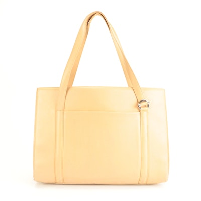 Cartier Cabochon Briefcase Tote Bag in Beige Calfskin Leather