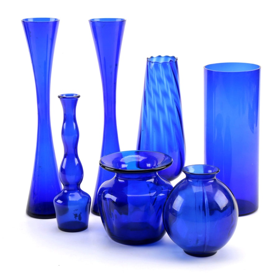Cobalt Blue Glass Vases, Late 20th Century