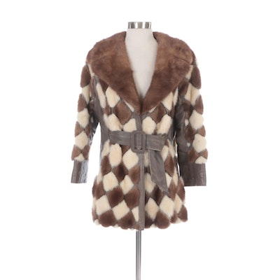 Pastel and Platinum Mink Fur Diamond Patterned Stroller Coat with Taupe Leather